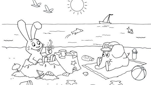 Elefant und Hase am Strand | Rechte: KiKA/WDR