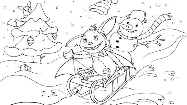 Fledermaus Fidi fährt mit einem Schneemann im Winter Schlitten