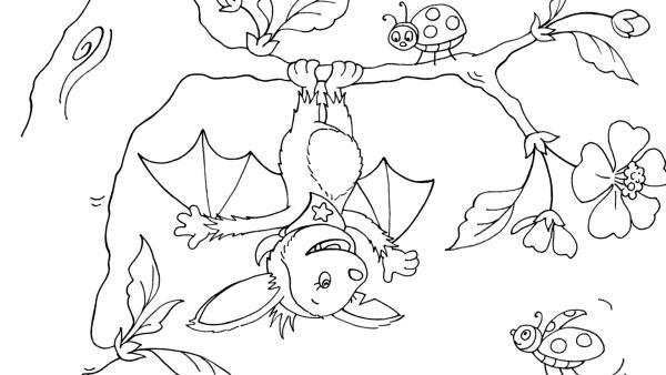 Fledermaus Fidi hängt an einem Baum und spielt mit Marienkäfern | Rechte: KiKA