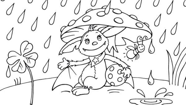 Fidi schützt sich mit einer Biene unter dem Fliegenpilz vor dem Regen  | Rechte: KiKA