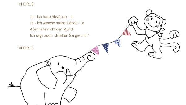 """Der Text vom KiKANiNCHEN-Lied """"Bleiben Sie gesund!"""" zum Ausdrucken und Mitsingen.   Rechte: KiKA"""
