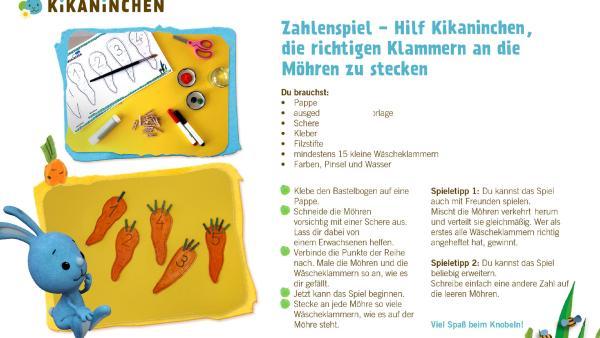 Bastelbogen von einem Zahlenpsiel mit Kikaninchen, mit einer Schritt-für-Schritt-Anleitung zum selber basteln. | Rechte: KiKA