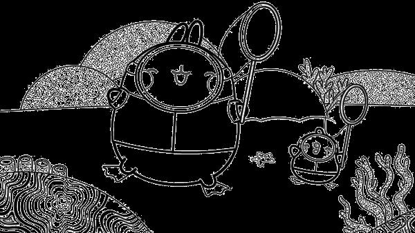 Molang und Piu Piu mit Taucheranzügen und Keschern unter Wasser. | Rechte: KiKA/ Hayanori/ Millimages