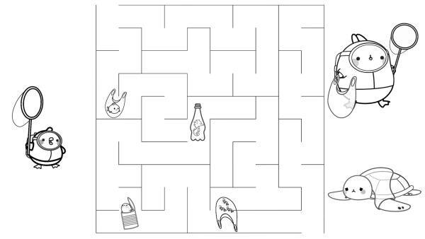 Rette mit Molang und Piu Piu die Tiere im Wasser in dem du durch das Labyrinth kommst.  | Rechte: KiKA/ Hayanori/ Millimages
