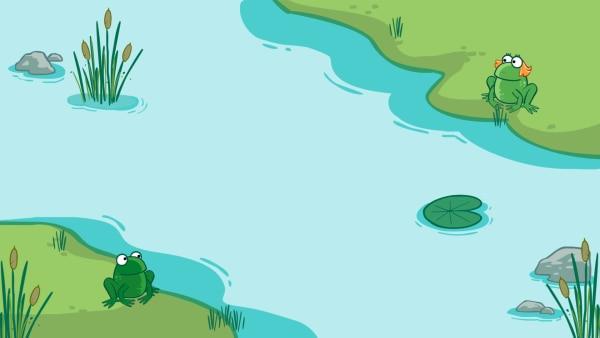 Der Frosch möchte auf die andere Seite des Ufers zu seiner Freundin. | Rechte: Sesamstraße