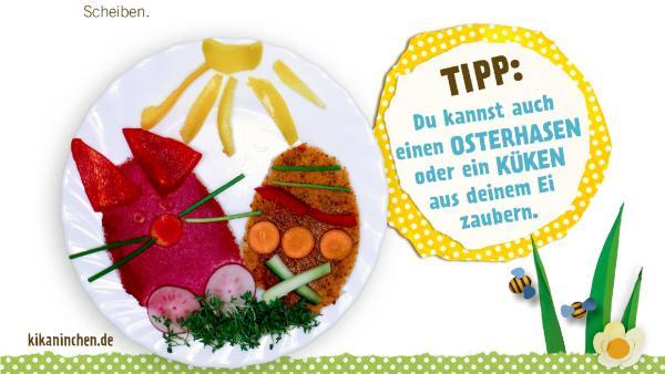 Rezept für Brote, die wie Ostereier geschnitten und mit Gemüse bunt belegt sind. | Rechte: KiKA